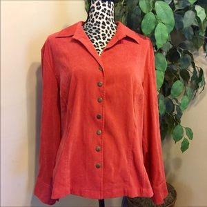 CJ Banks Burnt Orange Snap Autumn Jacket Size X 14